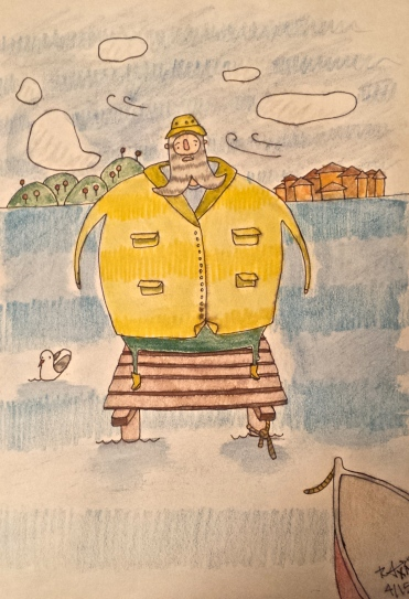Fat Fisherman. Watercolour/Pencil Crayon. 8x11