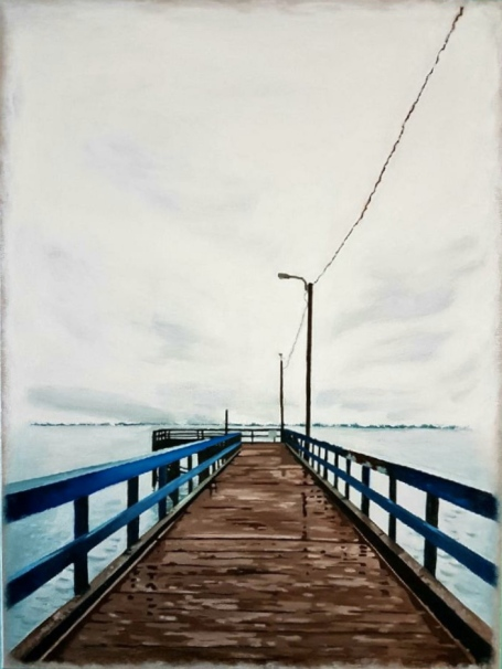 The Pier at Crescent. Acrylic. 18x24
