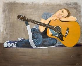Self Portrait with Guitar. Acrylic. 32x40