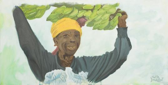 African Woman with Bananas. Acrylic. 12x24