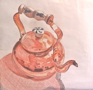 Teapot. Pencil Crayon. 12x12
