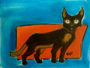Space Cat. Acrylic. 12x16
