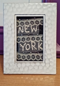 New York. fabric/beads. 2x3.5
