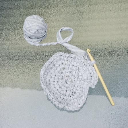 Learning to Crochet using Handmade T-Shirt Yarn
