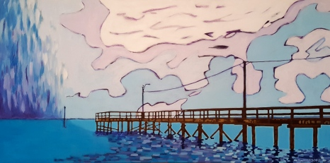 The Pier at Crescent III. Acrylic. 18x36